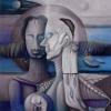 Marion Lucka: Öl, Wiedergeburt, 100 x 100 cm (1988)