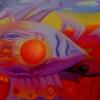 Marion Lucka: Sonnenfisch, Öl, 30 x 40 cm (1994)