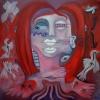 Marion Lucka: Totenvögel2, Öl, 50 x 50 cm (2008)