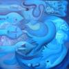 """Marion Lucka: Ölgemälde """"Blauschwimmer"""" 80 x 80 cm (2006)"""