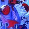 Marion Lucka: Winterrotvogel, Öl, 50 x 70 cm (2016)