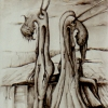 Marion Lucka: Tusche, Zweisamkeit, 20 x 30 cm 1986