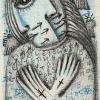 Blaue Hoffnung, Blei/Buntstift 6 x 10 cm (2019)