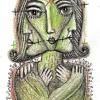 "Marion Lucka: Bleistiftzeichnung ""Grüne Frau"" 7 x 12 cm (Februar 2018)"