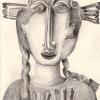 Marion Lucka: Indianerin, Bleistift, 10 x 15 cm (2002)