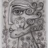 Marion Lucka: Frau mit Blumenhaar, Bleistiftzeichnung, 6 x 8 cm (2016)