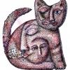 Marion Lucka: Rotkatze, Tusche/Aquarell (2013)