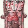 """Marion Lucka: Bunt/Bleistiftzeichnung"""" Ostermontag"""" 7 x 11 cm (2017)"""