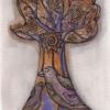 "Marion Lucka: Tusche/Aquarell "" Novemberbaum"" 10 x 20 cm (2017)"