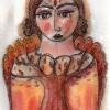 "Marion Lucka: Tusche/Aquarell ""Herbstengel"" 10 x 15 cm (2017)"