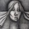 Marion Lucka: Selbst, Kohlezeichnung, 60 x 80 cm (1986)