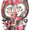 Marion Lucka: Blütenpaar, Bunt/Bleistift, (2010)