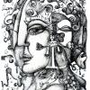 Marion Lucka: Gesicht, Tusche 20 x 30 cm (2010))