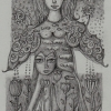 """Marion Lucka: Bleistiftzeichnung """" Nachmittagsengel"""" 10 x 15 cm (August 2017)"""