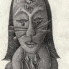 Marion Lucka: Bommelkatze, Bleistift 10 x 15 cm (2001)