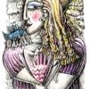 Marion Lucka: Blonde mit Vogel,Buntstiftzeichnung (2010)