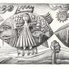 """Marion Lucka: Bleistiftzeichnung """"Fischflug"""" 10 x 15 cm (2003)"""