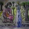 Marion Lucka: Frau am Bach, Tusche (2011)