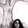 Marion Lucka: Bleistiftwandbild mit Blüte (1982)
