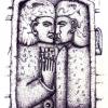 Marion Lucka: Grabstele,Tuschezeichnung, 8 x 12 cm (2010)