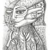 """Marion Lucka: Bleistiftzeichnung """"Warten"""" 10 x 15 cm (2018)"""
