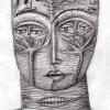 Marion Lucka: Bleistift, Katzenkopf mit Bäumen (2012