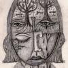 """Marion Lucka: Bleistiftzeichnung """"Krank"""" 10 x 20 cm (2017)"""