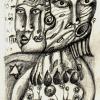 """Marion Lucka: Bleistiftzeichnung """"Krank"""" 6 x 10 cm (2013)"""