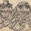 """Marion Lucka: Bleistiftzeichnung """" Brautpaar"""" 20 x 30 cm (1981)"""
