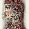 """Marion Lucka: Blei/Buntstiftzeichnung """"Rosenfrau"""" 8 x 10 cm (2016)"""