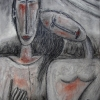 Marion Lucka: Paar, Kohle/Tempera, 30 x 40 (1997)