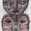 """Marion Lucka: Blei/Buntstiftzeichnung """"Rauhnachtskatze"""" 10 x 13 cm (2016)"""