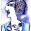 Marion Lucka: Seitenansicht, Aquarell, 10 x 15 cm (2001)
