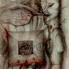 Marion Lucka: Totem, Bleistift/Aquarell (1986)