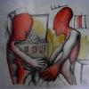 Marion Lucka: Rotes Paar, Aquarell (2008)